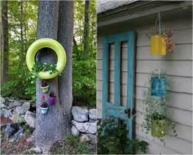 Charming Idee Deco Recup Jardin #3: Deco-jardin-idees-DIY-pneus-pots-fleurs-suspendus.jpg