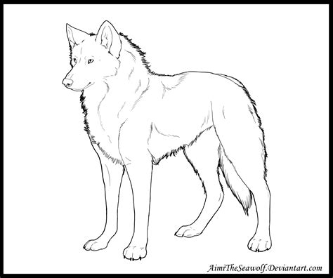 Realistic Wolf Lineart By Aimitheseawolf On Deviantart Realistic Wolf Coloring Pages