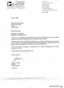 Sle Of Child Support Letter by Child Support Letter