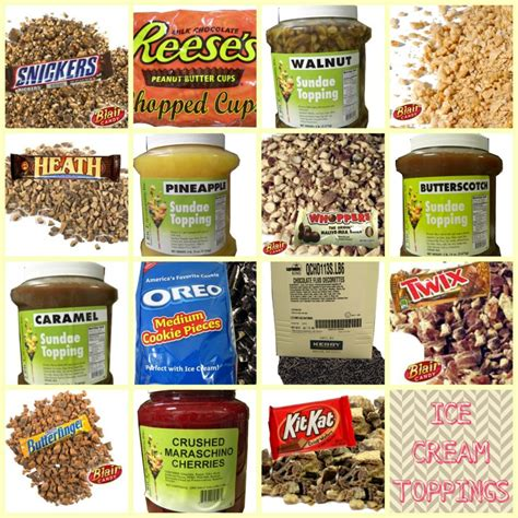 ice cream bar toppings list summer candy