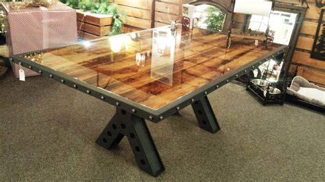 rustic metal and wood dining table buy a handmade modern industrial rustic 6 dining