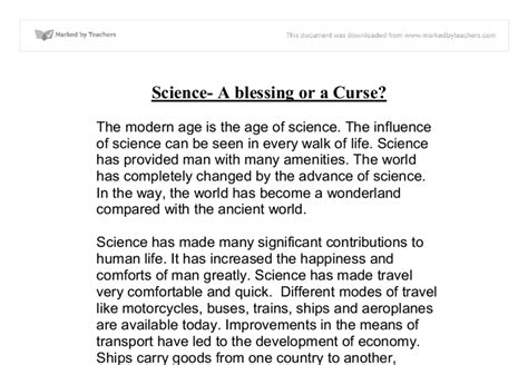 Of Science Essay Quotation by Science A Blessing Or A Curse Gcse Religious Studies Philosophy Ethics Marked By