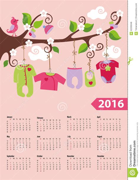 Baby Calendar 2016 American Calendar 2016 Year Baby Fashion Stock Vector