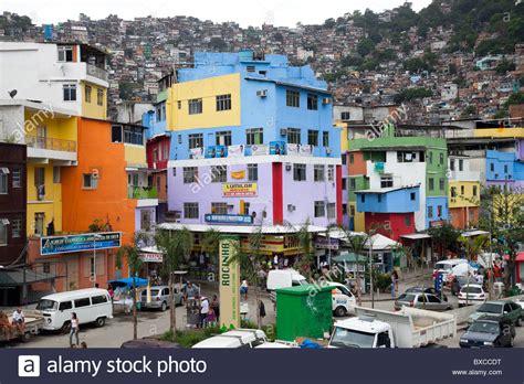 buy a house in brazil colorful houses at the base of the rocinha favela in rio de janeiro stock photo