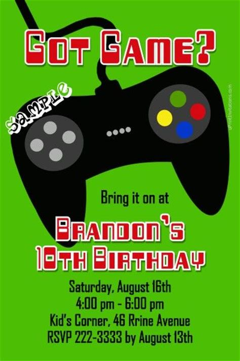 Video Game Controller Birthday Invitations Any Color Get These Invitations Right Now Design Arcade Invitation Template