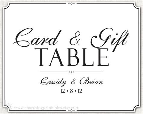 Gift Card Log - wedding gift table sign printable diy digital file sign card and gift table