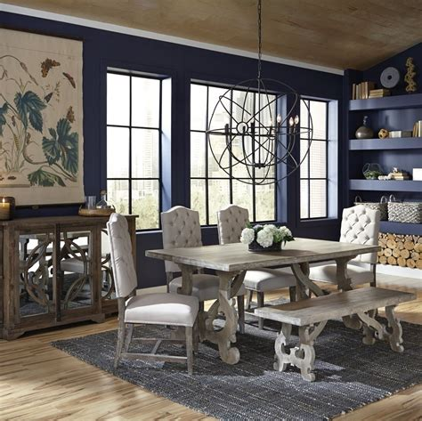 french farmhouse grey dining table  zin home