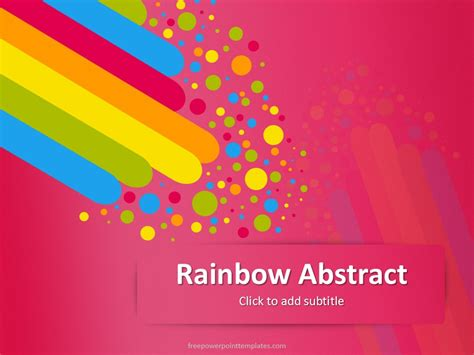 Free Pink Rainbow Abstract Powerpoint Template Powerpoint Rainbow Template