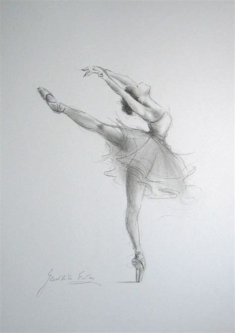 Sketches H by Original Pencil Drawing 12 X 8 On White Paper Of Ballerina