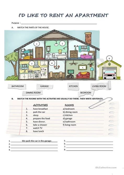 renting an apartment rent an apartment worksheet free esl printable