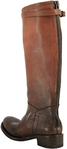 ash distressed leather knee high boots brown