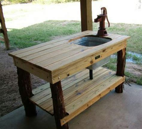 rustic prep area for outdoor grill