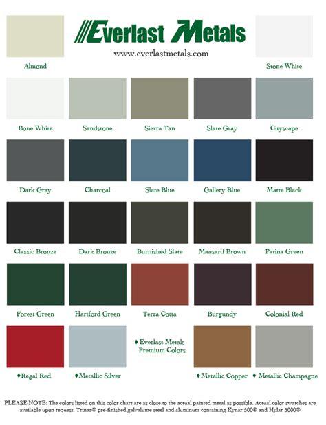 color of metals color chart everlast metals