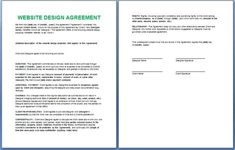 Official Website Design And Development Contract Template Free Formal Word Templates Website Agreement Template