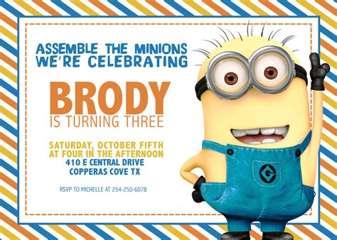 minion invitation card template minion birthday invitations ideas drevio