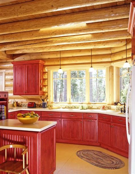 log cabin kitchen black cabinets log home kitchen with red stained cabinets log homes