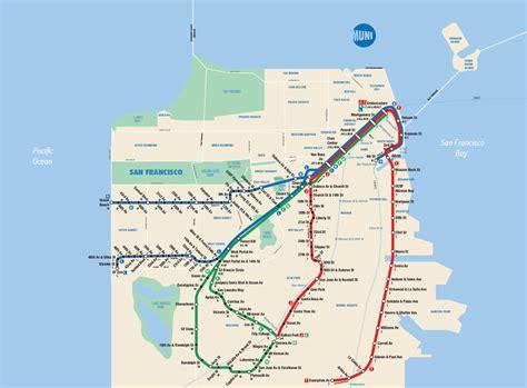 san francisco transportation map map san francisco muni metro in the style