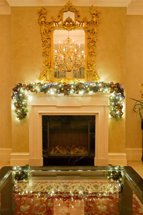 cool blue fireplace garland