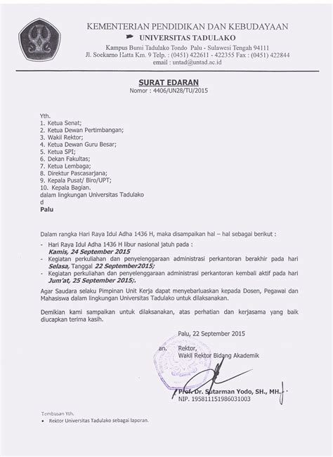 surat edaran dalam rangka menyambut hari raya idul adha universitas