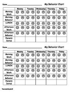 smiley behavior chart template weekly behavior report behavior report and individual