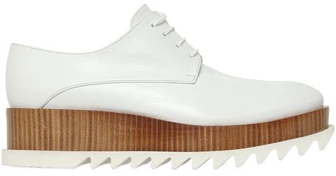 jil sander 50mm leather platform lace up shoes in white lyst