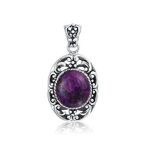 oval purple turquoise oxidized sterling silver pendant