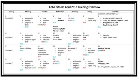 layout design training free monthly training program workout plan abba fitness