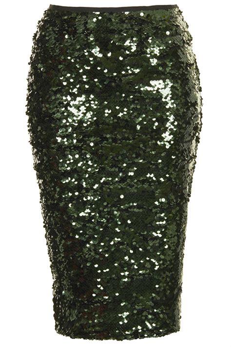 topshop sequin pencil skirt in green lyst