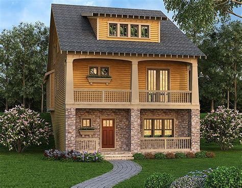 front sloping lot house plans craftsman escape for front sloping lot 75542gb architectural designs house plans