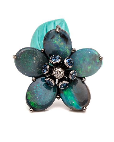 turquoise opal wendy yue turquoise and opal flower ring rings jewelry