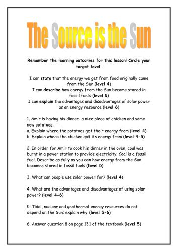 The Sun Worksheet Answers by The Sun As Energy Source Worksheet By Rhianrebecca