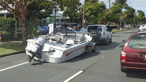 boat r road gone fishing boat falls off trailer at broadmeadow