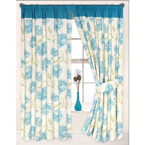 Floral Lined Curtains Floral Modern Curtain Heavy Cotton Canvas Pencil Pleat Lined Ready Made Curtains Ebay