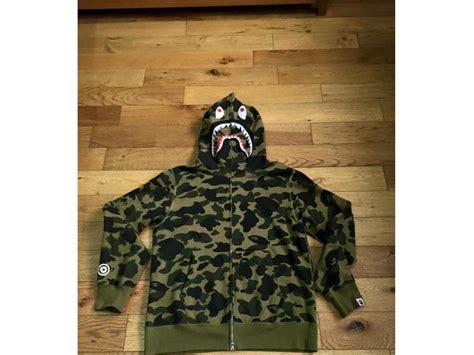 Green Camo Bape bape green camo zip shark hoodie xl 159747 from
