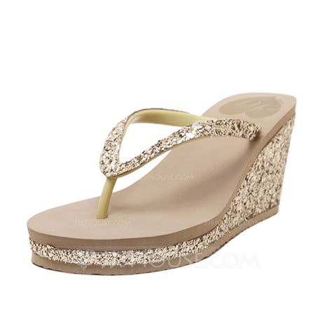s sparkling glitter wedge heel sandals flip flops
