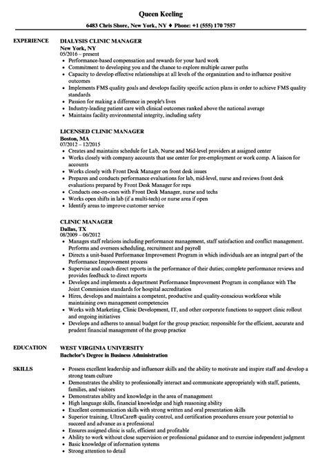 clinic manager resume clinic manager resume sles velvet