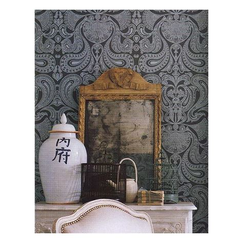 striking creampurple indian paisley wallpaper malabar
