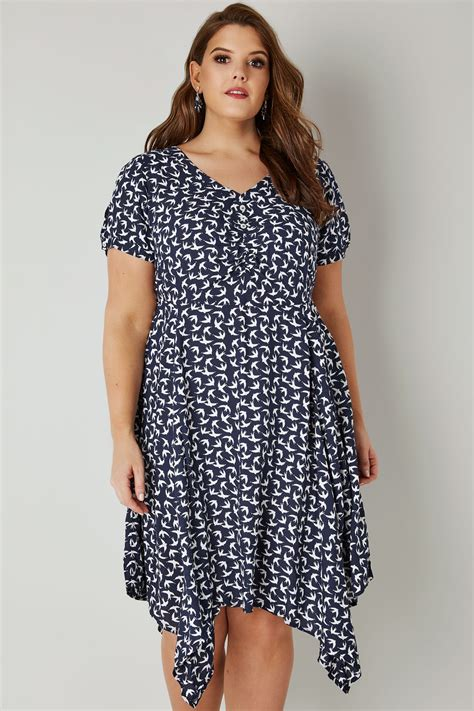 Dress Branded Simply Styled Navy Dress navy white print dress with tie waist hanky