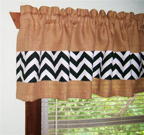 burlap chevron curtains burlap and chevron window curtain valance 4 by