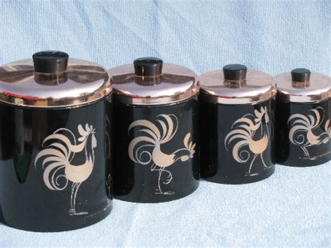 vintage kitchen copper canister set of 6 by vintagekitchenshop 50s vintage ransburg roosters kitchen canister set black