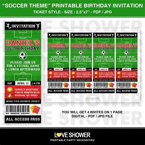 printable custom tickets free soccer printable birthday invitation ticket style by