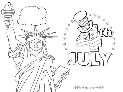 printable statue of liberty 4th of july coloring pages
