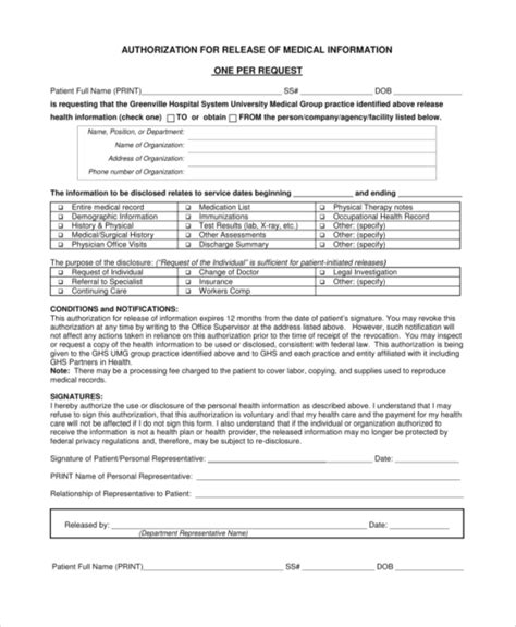 sle medical release form 9 exles in pdf