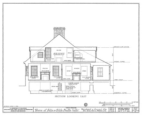 drawings of houses file drawing of a section looking east of the felix vallee house in ste genevieve mo png