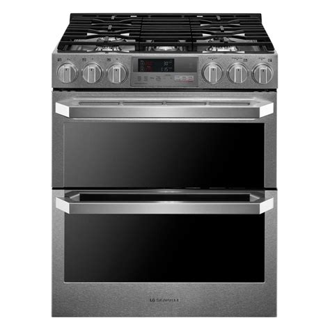 Oven Gas Stainless Steel lg signature 7 3 cu ft slide in oven dual fuel