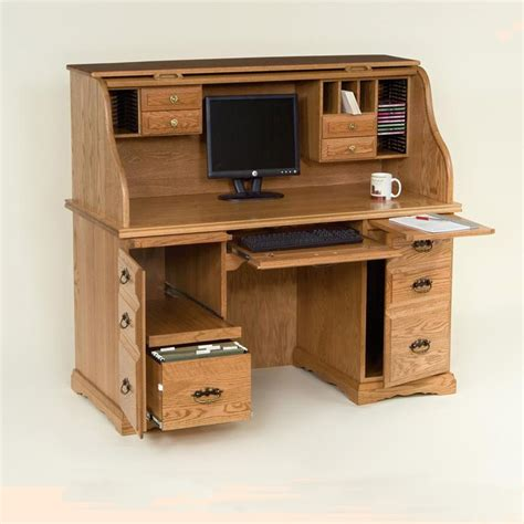60 quot roll top computer desk raised panel