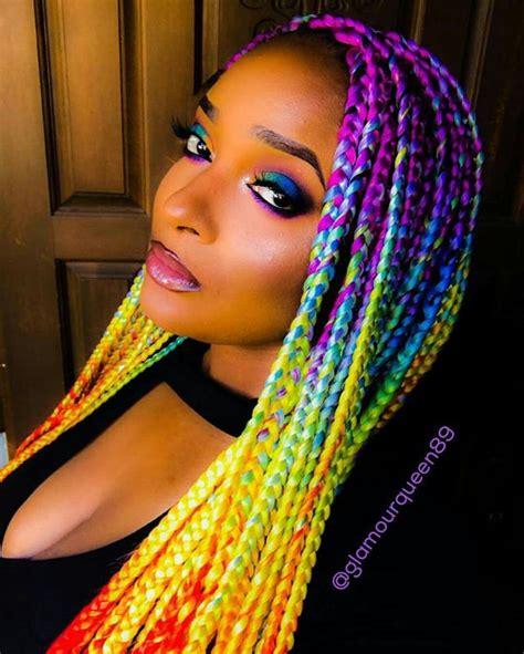 rainbow box braids i live protective styles