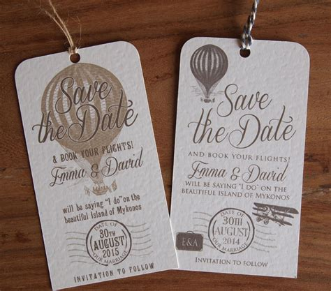 wedding card for abroad luggage label save the date card vintage wedding paper pleasures wedding stationery