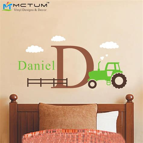 tractor wall stickers large tractor wall decal set boys name and initial decal
