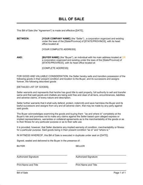 bill of sale template sle form biztree com